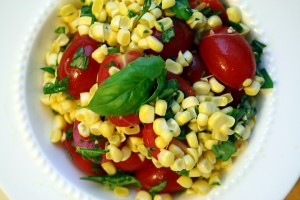 Corn and tomato salad with basil