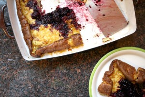 Corn Pancake with Blackberry Sauce