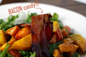 Roasted Vegetable and candied bacon salad