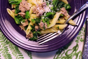 Pasta with Sausage and Broccoli Rape
