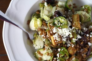 Warm Wheatberry, Brussels Sprout Salad with Feta and Crispy Tofu ~ ElephantEats.com