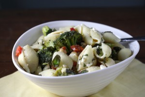Pasta Salad with Feta, Capers, Chickpeas, and Basil ~ ElephantEats.com
