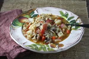 Pasta Soup with Potatoes, Pancetta and Mushrooms ~ ElephantEats.com