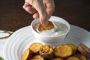 "Thanksgivukkah! Spiced Sweet Potato ""Gelt"" with Orange Honey Sour Cream ~ ElephantEats.com"