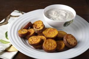 "Thanksgivukkah! Spiced Sweet Potato ""Gelt"" with Orange Honey Sour Cream ~ ElephantEats.com"