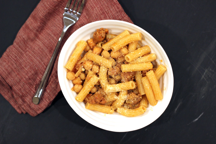 Pasta with Sausage and Chickpeas ~ ElephantEats.com